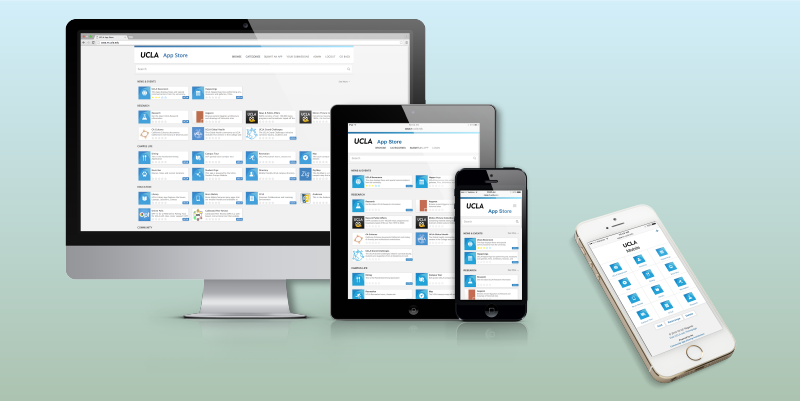 UCLA App Repository displayed on mobile devices and Mac