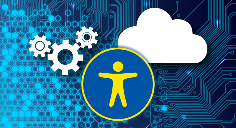 person, cloud, and gears representing the use of technology as adaptive tools