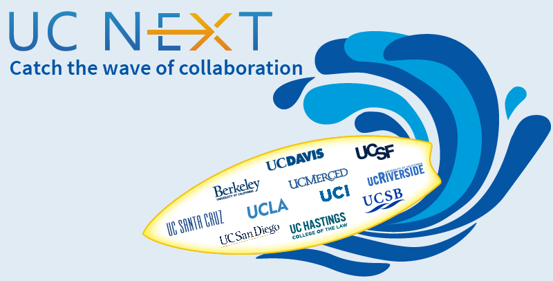 UC Next surfboard with all UC school names