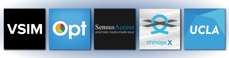 An image of five logos including: VSIM, Opt, SensusAccess, ohmageX and UCLA