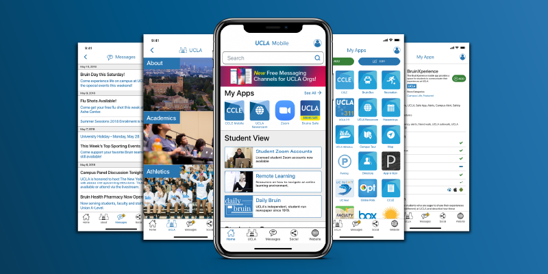 UCLA Mobile App features campus apps, the UCLA App Catalog and key campus data