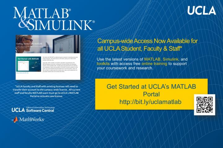 MATLAB website screenshot with link to get started at UCLA MATLAB Portal