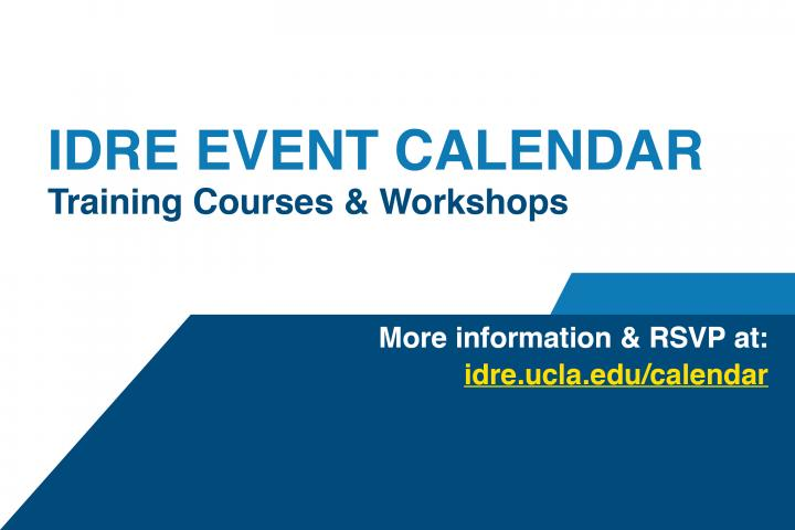 UCLA IDRE Workshop Calendar