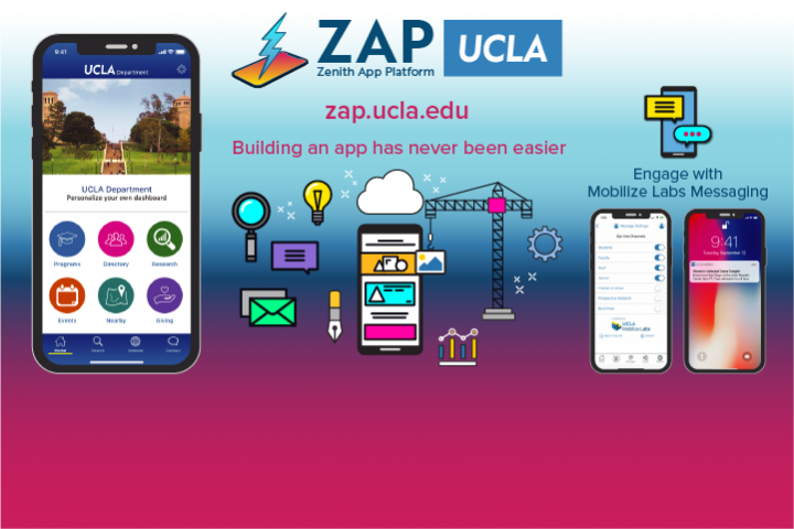 Zenith App Platform (ZAP) flyer with image of smart phone and icons representing mobile apps.